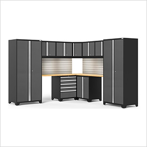 PRO Series 3.0 Grey 12-Piece Corner Set with Bamboo Tops, Slatwall, LED Lights