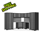 NewAge Garage Cabinets PRO Series Grey 12-Piece Corner Set with Stainless Steel Tops and Slatwall