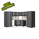 NewAge Garage Cabinets PRO Series Grey 12-Piece Corner Set with Stainless Tops, Slatwall and LED Lights