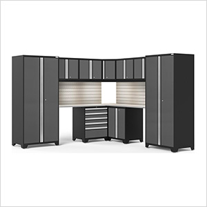 PRO Series Grey 12-Piece Corner Set with Stainless Tops, Slatwall and LED Lights