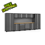 NewAge Garage Cabinets PRO Series 3.0 Grey 12-Piece Set with Bamboo Top and Slatwall
