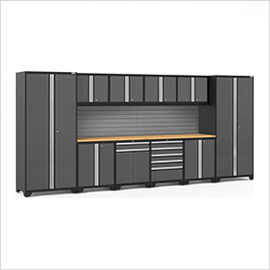 PRO Series 3.0 Grey 12-Piece Set with Bamboo Top and Slatwall