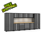 NewAge Garage Cabinets PRO Series 3.0 Grey 12-Piece Set with Bamboo Top, Slatwall and LED Lights