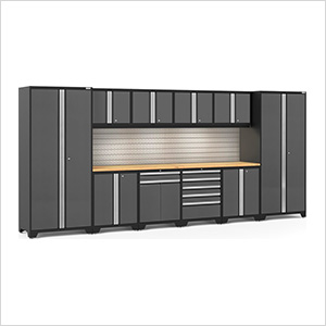 PRO Series 3.0 Grey 12-Piece Set with Bamboo Top, Slatwall and LED Lights