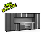 NewAge Garage Cabinets PRO Series Grey 12-Piece Set with Stainless Steel Top and Slatwall