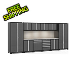 NewAge Garage Cabinets PRO Series Grey 12-Piece Set with Stainless Steel Top, Slatwall and LED Lights