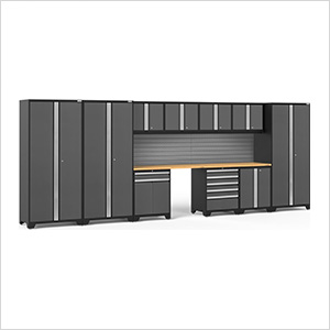 PRO Series 3.0 Grey 12-Piece Set with Bamboo Tops and Slatwall