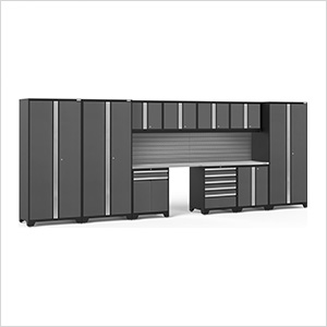 PRO Series Grey 12-Piece Set with Stainless Steel Tops and Slatwall