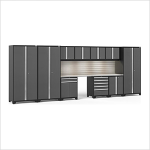 PRO Series Grey 12-Piece Set with Stainless Steel Tops, Slatwall and LED Lights