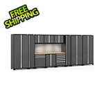 NewAge Garage Cabinets PRO Series 3.0 Grey 12-Piece Set with Bamboo Tops, Slatwall and LED Lights