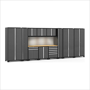 PRO Series 3.0 Grey 12-Piece Set with Bamboo Tops, Slatwall and LED Lights