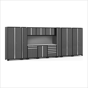 PRO Series Grey 12-Piece Set with Stainless Steel Top and Slatwall