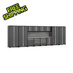 NewAge Garage Cabinets PRO Series 3.0 Grey 14-Piece Set with Bamboo Tops and Slatwall
