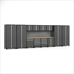 PRO Series 3.0 Grey 14-Piece Set with Bamboo Tops and Slatwall