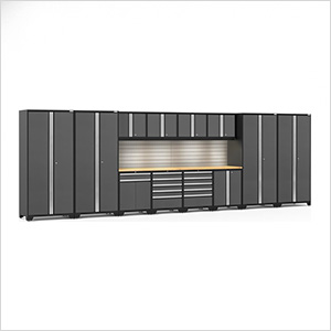 PRO Series 3.0 Grey 14-Piece Set with Bamboo Tops, Slatwall and LED Lights