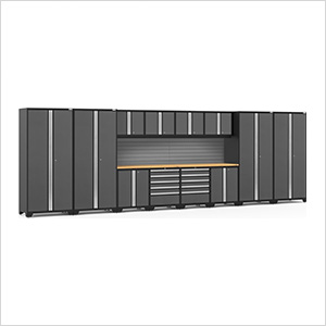 PRO Series 3.0 Grey 14-Piece Set with Bamboo Top and Slatwall