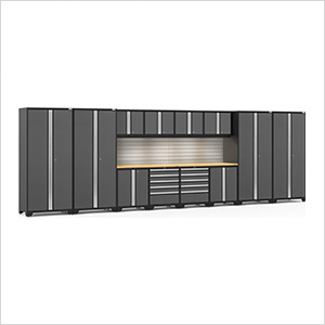 PRO Series 3.0 Grey 14-Piece Set with Bamboo Top, Slatwall and LED Lights