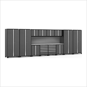 PRO Series Grey 14-Piece Set with Stainless Steel Tops and Slatwall