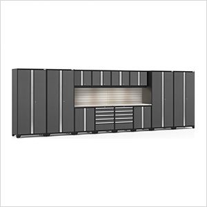 PRO Series Grey 14-Piece Set with Stainless Steel Tops, Slatwall and LED Lights