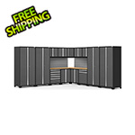 NewAge Garage Cabinets PRO Series Grey 16-Piece Corner Set with Bamboo Tops and Slatwall