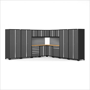 PRO Series Grey 16-Piece Corner Set with Bamboo Tops and Slatwall