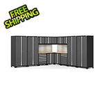 NewAge Garage Cabinets PRO Series Grey 16-Piece Corner Set with Bamboo Tops, Slatwall and LED Lights