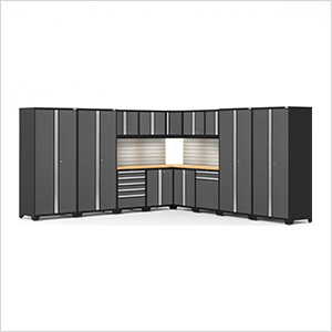 PRO Series Grey 16-Piece Corner Set with Bamboo Tops, Slatwall and LED Lights