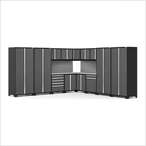 PRO Series Grey 16-Piece Corner Set with Stainless Steel Tops and Slatwall