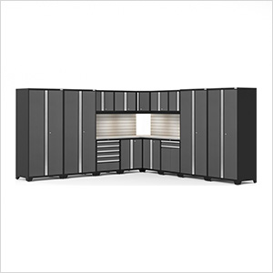 PRO Series Grey 16-Piece Corner Set with Stainless Tops, Slatwall and LED Lights
