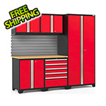 NewAge Garage Cabinets PRO Series 3.0 Red 6-Piece Set with Bamboo Top and Slatwall