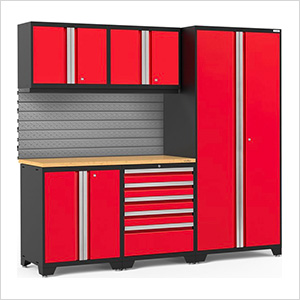 PRO Series 3.0 Red 6-Piece Set with Bamboo Top and Slatwall