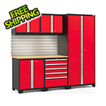 NewAge Garage Cabinets PRO Series 3.0 Red 6-Piece Set with Bamboo Top, Slatwall and LED Lights