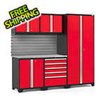 NewAge Garage Cabinets PRO Series 3.0 Red 6-Piece Set with Stainless Steel Top and Slatwall