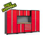 NewAge Garage Cabinets PRO Series 3.0 Red 7-Piece Set with Bamboo Top and Slatwall