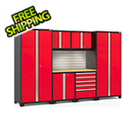 NewAge Garage Cabinets PRO Series 3.0 Red 7-Piece Set with Bamboo Top, Slatwall and LED Lights