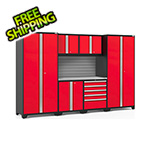 NewAge Garage Cabinets PRO Series 3.0 Red 7-Piece Set with Stainless Steel Top and Slatwall