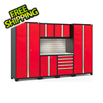 NewAge Garage Cabinets PRO Series 3.0 Red 7-Piece Set with Stainless Steel Top, Slatwall and LED Lights