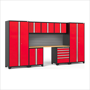 PRO Series 3.0 Red 8-Piece Set with Bamboo Top and Slatwall