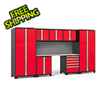 NewAge Garage Cabinets PRO Series 3.0 Red 8-Piece Set with Stainless Steel Top and Slatwall