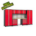 NewAge Garage Cabinets PRO Series 3.0 Red 8-Piece Set with Bamboo Top, Slatwall and LED Lights