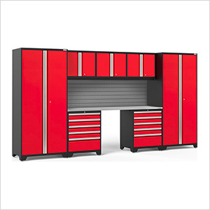 PRO Series 3.0 Red 8-Piece Set with Stainless Steel Top and Slatwall