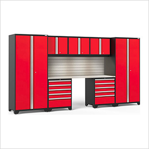PRO Series 3.0 Red 8-Piece Set with Stainless Steel Top, Slatwall and LED Lights