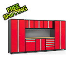 NewAge Garage Cabinets PRO Series 3.0 Red 9-Piece Set with Bamboo Top and Slatwall
