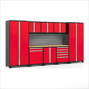 PRO Series 3.0 Red 9-Piece Set with Bamboo Top and Slatwall