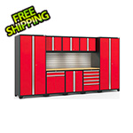 NewAge Garage Cabinets PRO Series 3.0 Red 9-Piece Set with Bamboo Top, Slatwall and LED Lights