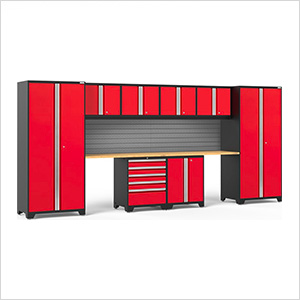 PRO Series 3.0 Red 10-Piece Set with Bamboo Top and Slatwall