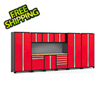 NewAge Garage Cabinets PRO Series 3.0 Red 10-Piece Set with Bamboo Top and Slatwall