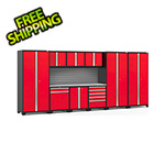 NewAge Garage Cabinets PRO Series 3.0 Red 10-Piece Set with Stainless Steel Top and Slatwall
