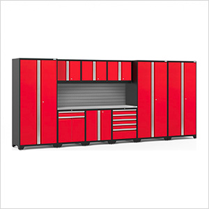 PRO Series 3.0 Red 10-Piece Set with Stainless Steel Top and Slatwall