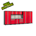 NewAge Garage Cabinets PRO Series 3.0 Red 10-Piece Set with Stainless Steel Top, Slatwall and LED Lights